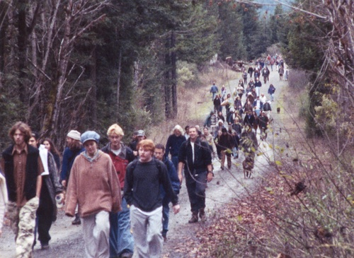Supporters hiking to Luna