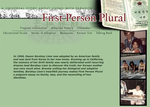 First Person Plural - Homepage of Archived POV site (2000)
