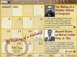 Martin Luther King Holiday calendar - inset image for pop-up window