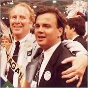 Former Congressman Bob Dornan and Brian Bennett, 1984 Republican National Convention, Dallas