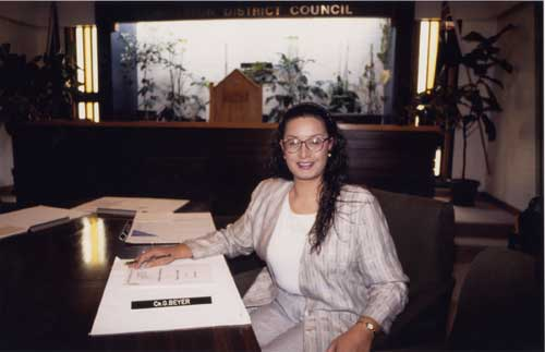 Georgina Beyer in 1993, the newest councillor on the Carterton District Council.