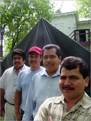Grupo Union members in front of their meeting tent.
