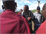 Pete O'Neal and Derek Harris with the Maasai in Tanzania.