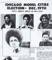 Photo: The Black Panther newspaper announces the candidates running for office in the 1972 Chicago Model Cities board elections, Yvonne King among them