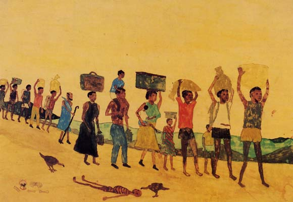 'The walking of the many' by David Kumcieng, aged 15, Sudanese, Kakuma refugee camp