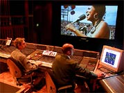 Wattstax - Mixer Jim Austin and Editor Michael Kelly at work in the studio.