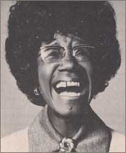 Photo of Shirley Chisholm laughing from Ms. Magazine article, 1973