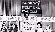 Chisholm speaking at a Women's Political Caucus meeting