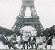 Mel and teammates in front of the Eiffel Tower in 1961.