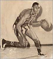 Mel in a 1963 Globetrotters game.