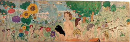 6 Episode 3 Place not mentioned. Escape during violent storm, still fighting though persed for long distance, by Henry Darger