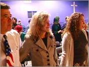Danny, Paula, and Shelby Knox at Shelby's pledge ceremony