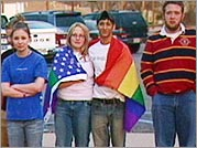 Members of the Lubbock High School Gay Straight Alliance with flag