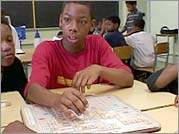 Montrey Moore in class during the summer orientation for the Baraka School