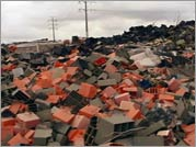 A heap of a toxic waste left behind by Metales y Derivados, a battery-recycling factory.