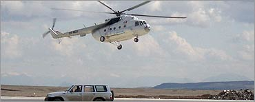 A helicopter takes off