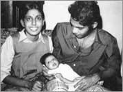 No More Tears Sister - Rajani and Dayapayla with their infant daughter Narmada.