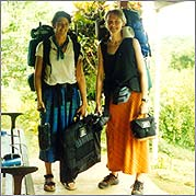 Filmmaker Adele Horne (right) and sound recordist Rebecca Baron (left) with their gear in the Solomon Islands. Photo credit: Alex Shaw.