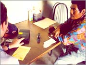 Filemón Chofas Rubio (right) helps Philip Young (left) check the translation of a Bible story into a Mixteco language in Baja, California.