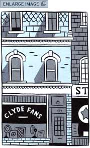 The Clyde Fans Company's neglected storefront -- closed