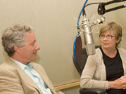 Waging a Living: Barbara Ehrenreich and NOW host David Brancaccio in the studio. Photo by Wendy Stulberg.