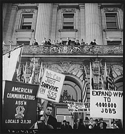 In front of city hall, San Francisco, California. The Worker's Alliance, Works Progress Administration (WPA) organize simultaneous demonstrations in the large cities of the nation