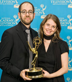 Robert and Almudena receive an Emmy for Outstanding Coverage of a News Story - Long Form at the 29th Annual News and Documentary Emmy Awards.