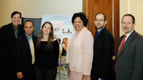 The filmmakers with Frank Sharry (America's Voice), Representative Luis Gutierrez, Representative Diane Watson and Bill Mefford (United Methodist Church/ Interfaith Immigration Coalition) at a screening of Made in L.A. in Capitol Hill