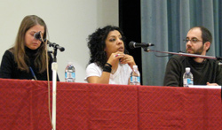 Lupe speaks at an event at the University California Santa Cruz in front of 400 students.