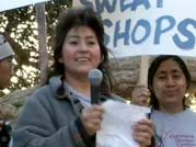 María Pineda, a subject of <strong>Made in L.A.</strong>, addresses the crowd at a protest.
