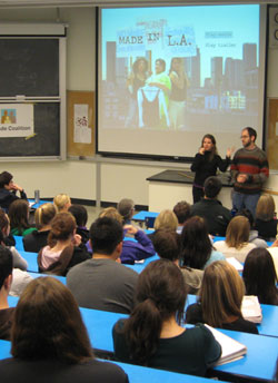 Almudena and Robert speak at a presentation of <strong>Made in L.A.</strong> at UW-Seattle.&#8221; width=&#8221;250&#8243; height=&#8221;344&#8243; /></p> <p class=