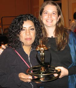 Made in L.A.: Lupe Hernandez and Almudena Carracedo receiving the Henry Hampton prize