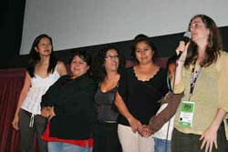 Joann Lo, Maura Colorado, Lupe Hernandez, Maria Pineda, little Araceli Pineda and Almudena Carracedo at the Los Angeles Film Festival