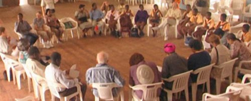 Traces of the Trade: DeWolf descendants meeting with Ghanaians, African-Americans, and others at the Town Hall, Cape Coast, Ghana