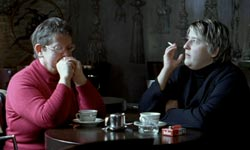 Beyond Hatred - Marie-Cecile Chenu and daughter in a cafe