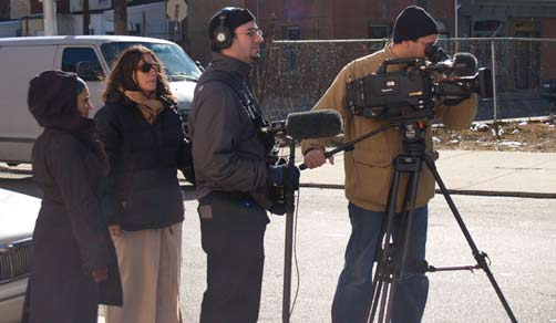 New Muslim Cool: Hana Siddiqi, Jennifer Taylor, Chris Strollo, Jon Shenk film outside wedding