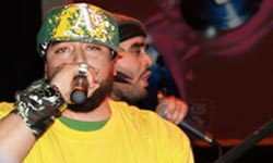 New Muslim Cool: Hamza and Suliman rapping on stage