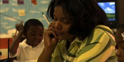 Principal Tresa Dunbar visits a classroom to assess a teacher at Nash Elementary School