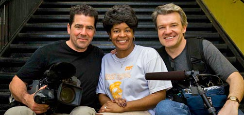 The Principal Story: Directors Tod Lending (l.) and David Mrazek with principal of the Henry H. Nash Elementary School, Tresa Dunbar (center)