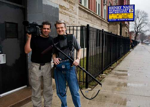 Directors Tod Lending (l.) and David Mrazek outside of the Henry H. Nash Elementary School in Chicago, IL. Courtesy of Nomadic Pictures