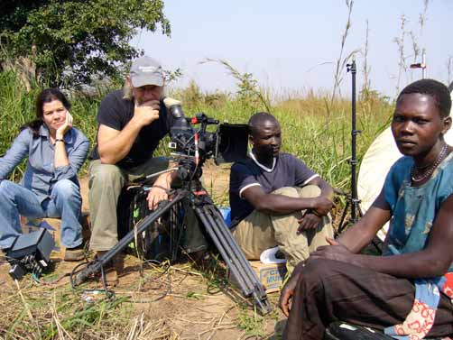Pamela Yates, far left, director; Melle van Essen, cinematographer; Jimmy Otim, line producer, and Lucy Akongo, survivor of an LRA attack.