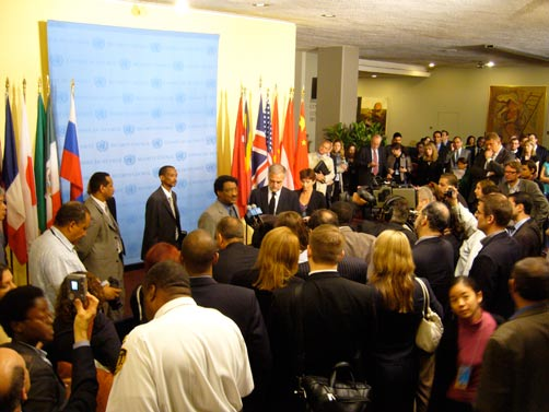 Sudanese Ambassador to the U.N. Abdalmahmood Mohamad, and ICC Prosecutor Luis Moreno Ocampo square off in front of the press corps outside the U.N. Security Council after a hearing regarding Darfur.