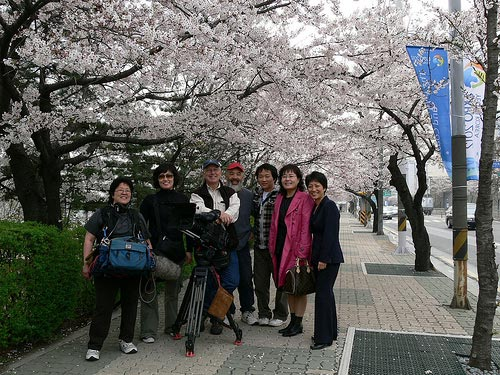 In the Matter of Cha Jung Hee: The film crew in Korea