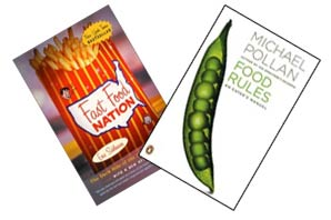 Cover jackets for 'Fast Food Nation' and 'Food Rules'