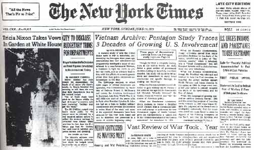 The Most Dangerous Man - NYT front page with Pentagon Papers