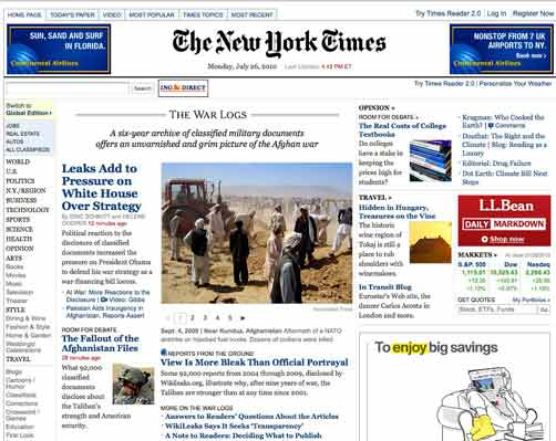 The Most Dangerous Man - NYT homepage with Wikileaks story