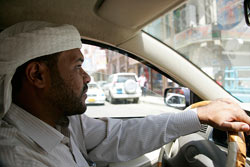 The Oath - Abu Jandal, former Bin Laden bodyguard, drives a taxi in Yemen. As see in 'The Oath.'