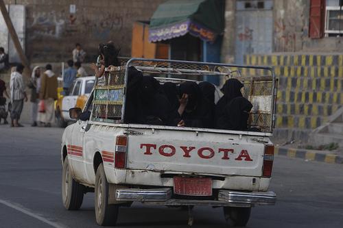 The Oath: Women in the back of a truck in Yemen