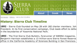 Sierra Club History Timeline