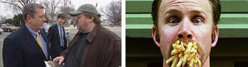 Stills from Michael Moore's Fahrenheit 9/11 and Morgan Spurlock's Super Size Me